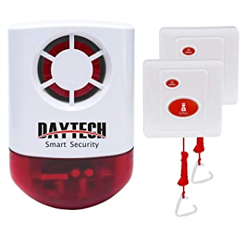 Daytech Wireless Strobe Siren Alarm Home Caring Loud Outdoor SOS Alert System 1 Red Flashing Siren and 2 Emergency Button for Store Home Hotel Jewelry ...