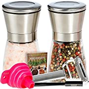 Amazon Lightning Deal 74% claimed: Premium Salt and Pepper Shakers 6 Oz - Unlike Other Salt and Pepper Grinder/Mill Set - 3 Grade Adjustable Ceramic Rotor - BUNDLE WITH - Peeler, Funnel, Recipe eBook and Cleaning Brush by Mys Homeware