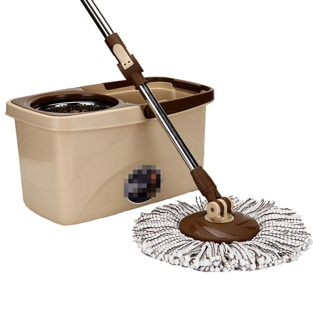 Hand-Washing Double Drive Rotary mop Bucket Good God Drag Home Labor Saving Automatic Bracket MOP MOP Drag Suitable for Home School Office, etc,Brown