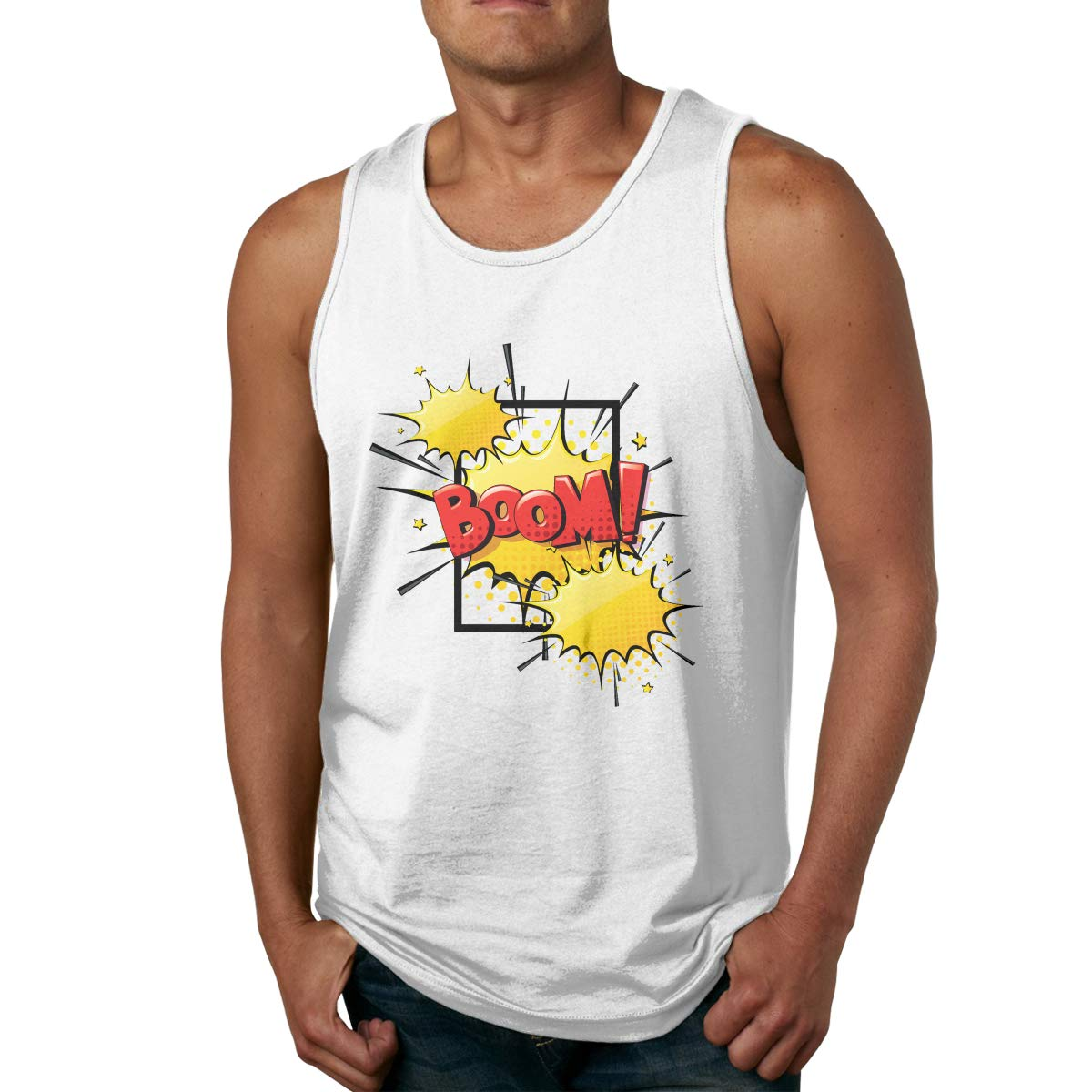 Mans Stylish Solid Color Round Neck Boom Print Gym Vest T Shirts