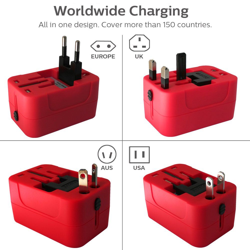 All in One International Universal Travel Adapter,Dual USB Charging Ports Converter for USA EU UK AUS European Compatible with Mobile Phone,Power Bank,Tablet,Laptop and Earphone. (Red) by LALAFO (Image #3)