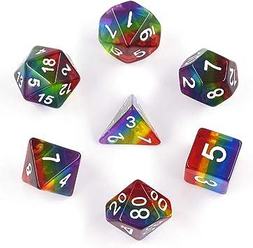 HARMILIY Dados de Juego para Dungeons and Dragons DND RPG MTG Poliédrico Dados D20 D12 D10 D8 D6 D4 de Mesa Juegos de Cartas: Amazon.es: Juguetes y juegos