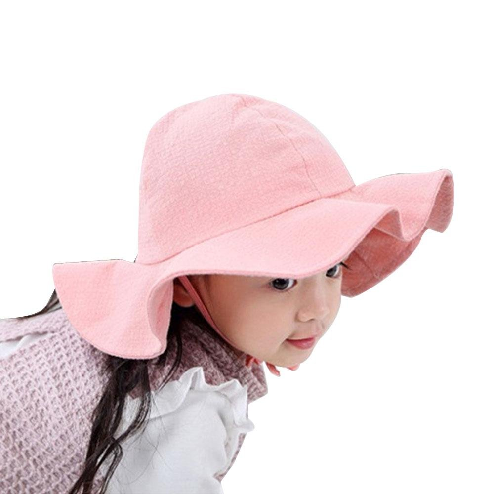 Fishing Hats for Kids, Aolvo Toddler Sun Hat Soft Cotton Breathable Hats for Baby Girls Boys UV Sun Protection Hats Summer Play Hat with Strap Cute Shade Sun Hat Child Bucket Cap