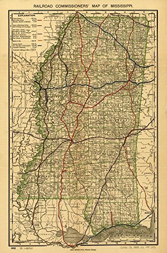 Vintage 1888 Map of Railroad commissioner's map of Mississippi. Shows drainage, cities and towns, township and county boundaries, and the railroad network with color coding. Mississippi, United States (Mississippi State Map With Cities And Counties)