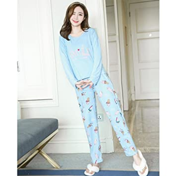 MOXIN Ladies Pyjama Cotton Gift Set Long Top & Bottoms Cosy Autumn Womens Nightwear , M