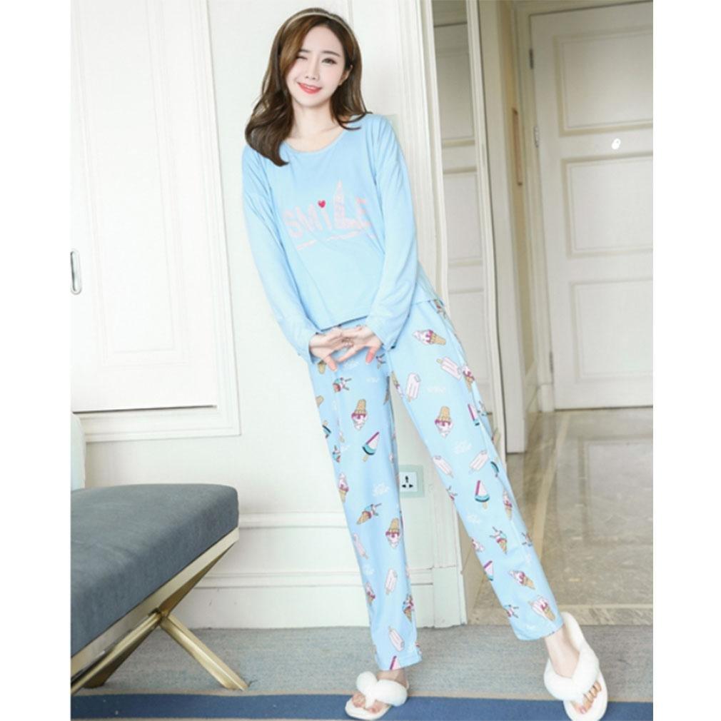 MOXIN Ladies Pyjama Cotton Gift Set Long Top & Bottoms Cosy Autumn Womens Nightwear , M , letter ice cream blue