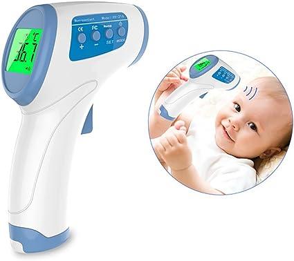 JEYPLUS Thermomètre Infrarouge Frontal et Oreille sans Contact pour Bébé,Enfant, Adulte Couleur Blanc (Thermomètre Frontal)