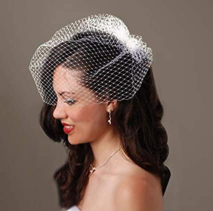 Simple Tulle Blusher Veil with Small Satin Bow #716V Tulle Birdcage Veil with Bow