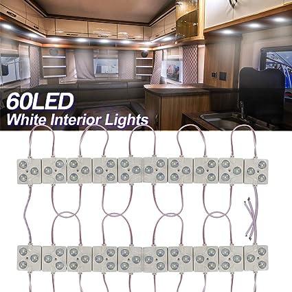 20x3LEDs Kit de Luz Interior lámpara de Módulo Auto LED iluminación Luces Interiores del Coche 12V Blancos para Camper Van Caravana Camión Barcos Transit. (F-Type): Amazon.es: Coche y moto