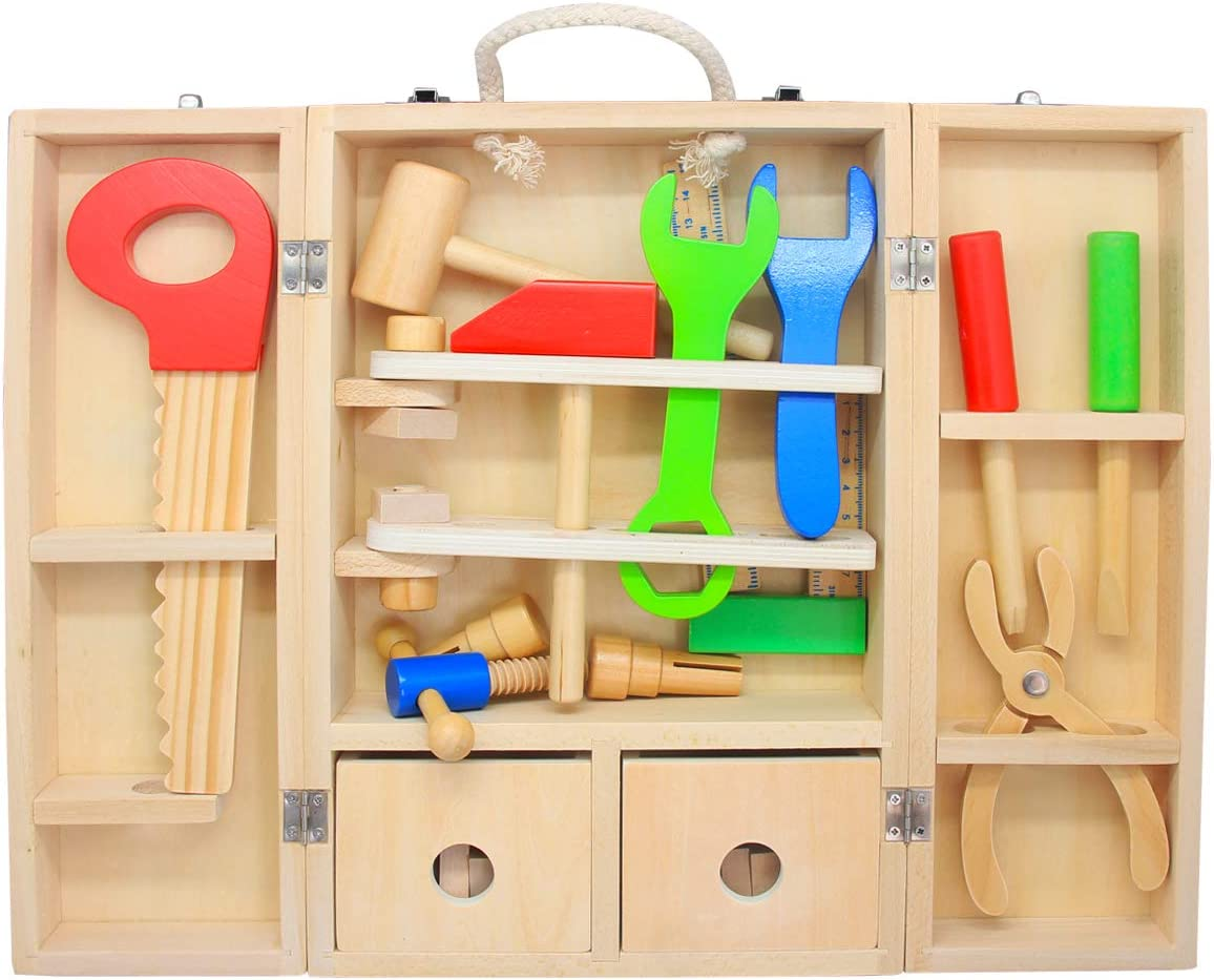 Pretend Play Preschool Tool Box and Accessory Set for Age 2 3 4 Years Old Boys and Girls Wooden Tool Set for Kids