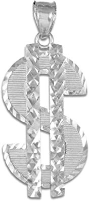 Sterling Silver Dollar Sign Charm Pendant Necklace with Diamond Cut Finish