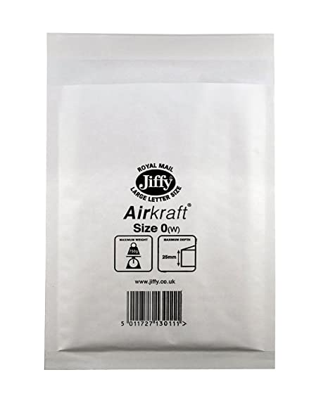 5fc7f747af5 100 White Jiffy Airkraft Postal Bags Bubble-lined Peel and Seal - Size 0  (140mm x 195mm)  Amazon.co.uk  Office Products