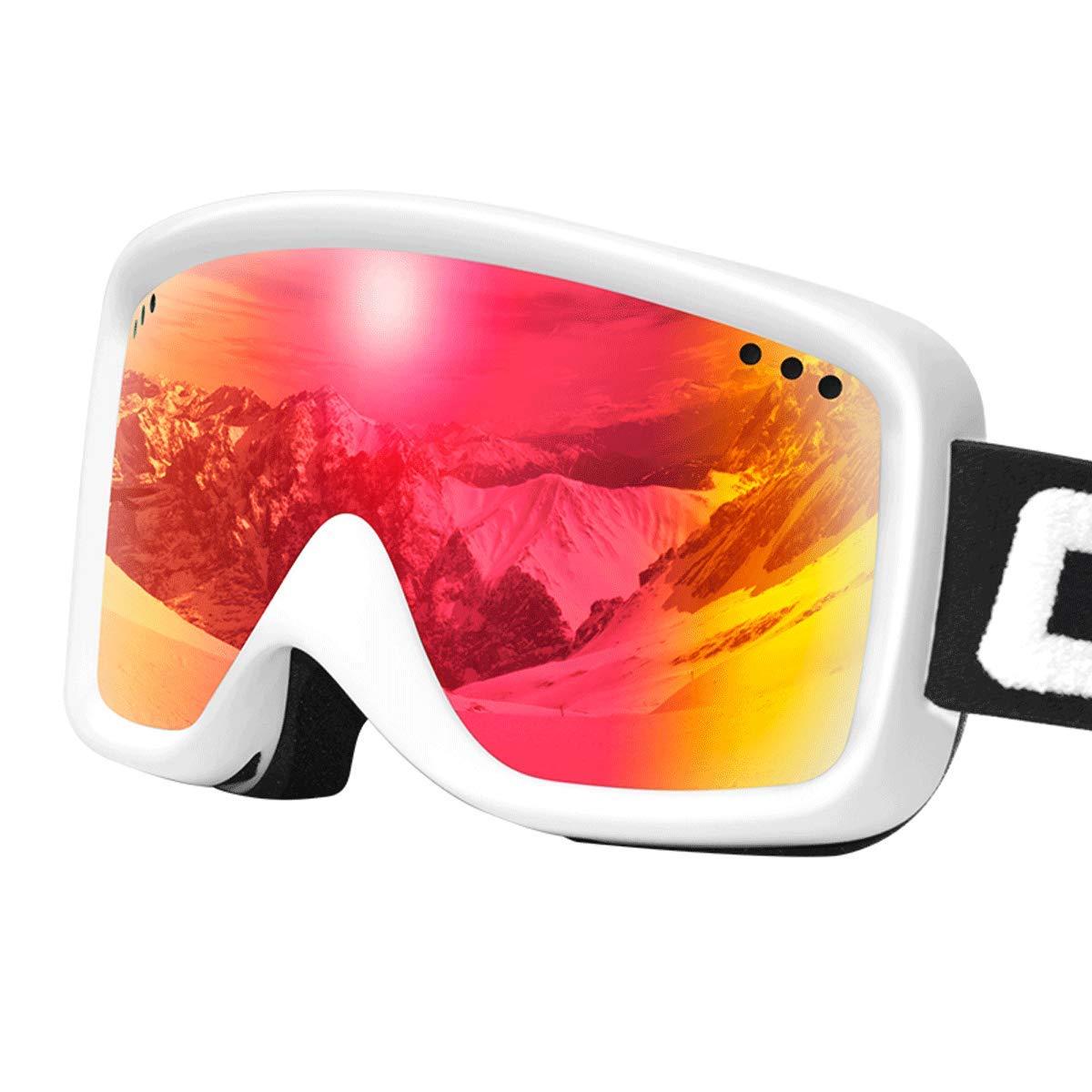 RMXMY スキーゴーグルHD二重層防曇および抗UV男性および女性大人の大型アウトドアクライミングゴーグル (色 : 赤) 赤