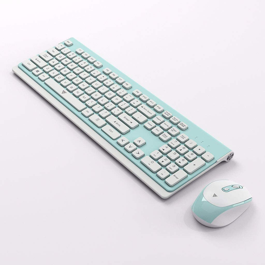 JIDSFIE Keyboard and Mouse Set Wireless 2.4G Home Office Ultra-Thin Wireless Green