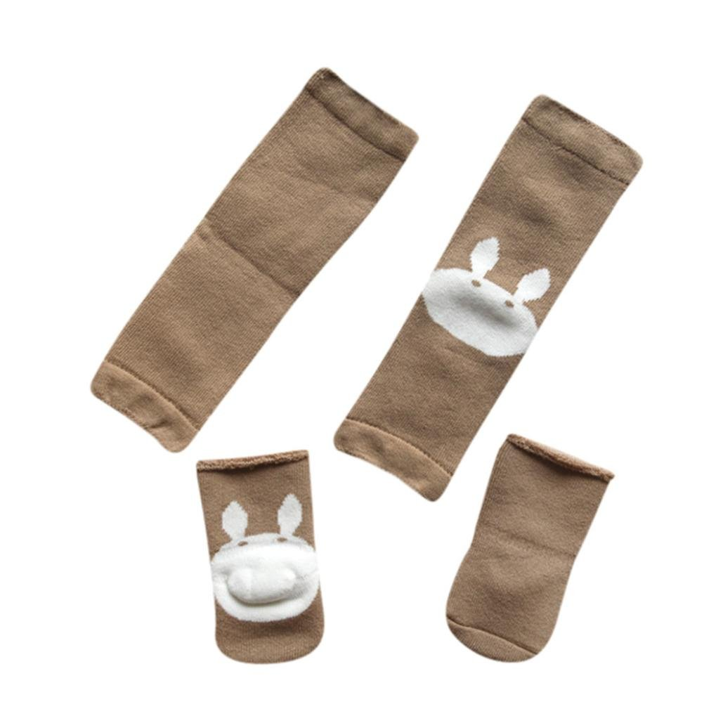 Dreamyth Cartoon Baby Crawling Toddler Girls Protective Knee Pads Leg Warmers+Socks Set