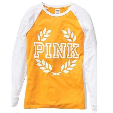7b5c870e0db68 Victoria's Secret Pink Campus Long Sleeve Raglan TEE (Yellow) (Large ...