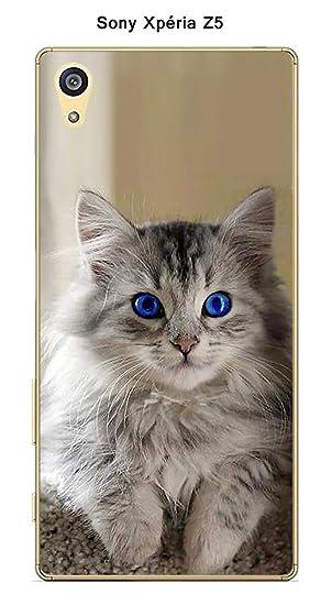 Carcasa Sony Xperia Z5 diseño Gato con Ojos Azules: Amazon ...