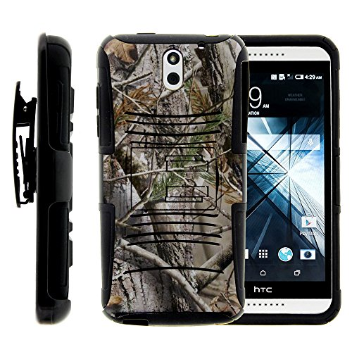 HTC Desire 610 Case, HTC Desire 610 Holster, Two Layer Hybrid Armor Hard Cover - Tree Bark Hunter Camouflage