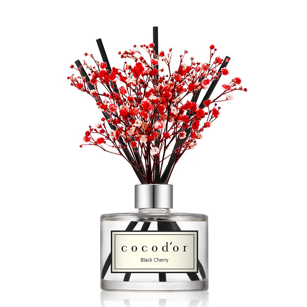 Cocod'or Preserved Real Flower Reed Diffuser, Black Cherry Reed Diffuser, Reed Diffuser Set, Oil Diffuser & Reed Diffuser Sticks, Home Decor & Office Decor, Fragrance and Gifts, 6.7oz