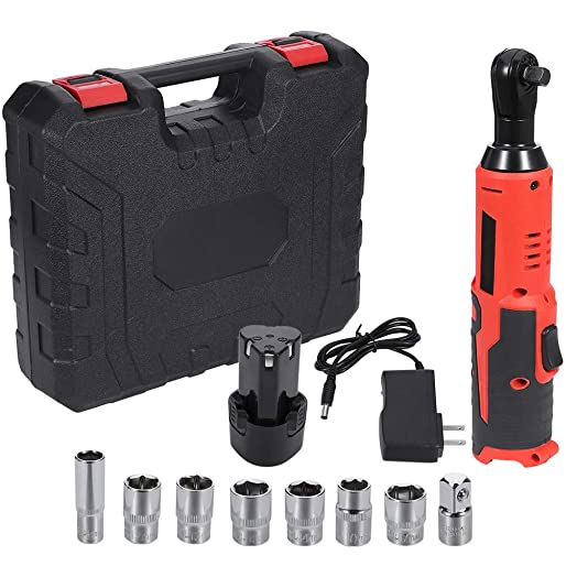 Ziloco 3 8 Cordless Ratchet Wrench, 18V Power Ratchet Tool Kit, Electric Ratchet Wrench Set 10-17mm Socket Red