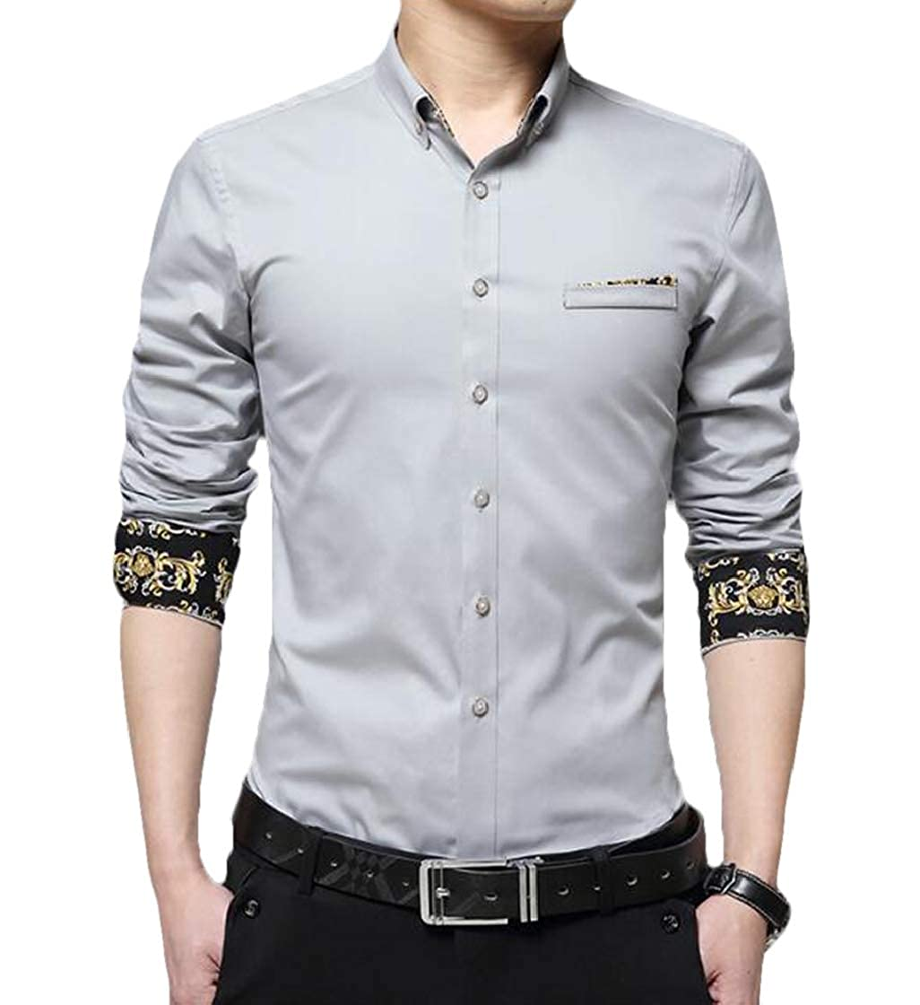 YYear Mens Print Lightweight Cotton Skinny Casual Long Sleeve Shirt Blouse Top