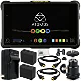 "Atomos Shogun Inferno 7"" 4K HDMI/Quad 3G-SDI/12G-SDI Recording Monitor 9PC Accessory Kit. Includes 2 Replacement F970 Batteries + AC/DC Rapid Home & Travel Charger + 2 HDMI Cables + MORE"