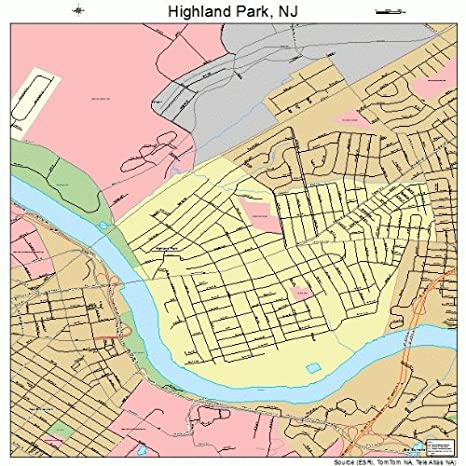 Amazon.com: Large Street & Road Map of Highland Park, New Jersey NJ ...