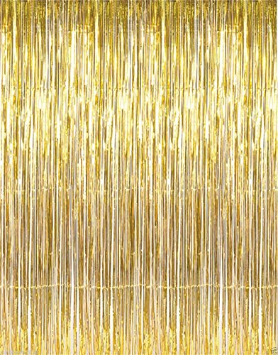 Jocon SF8107 Metallic Foil Fringe Curtain for Wedding Prom Birthday Party Backdrop Decoration (2 Packs, Golden) -