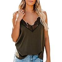 LODDD Women Silk Satin V-Neck Camisole Plain Strappy Vest Top Sleeveless Blouse Casual Loose Tank