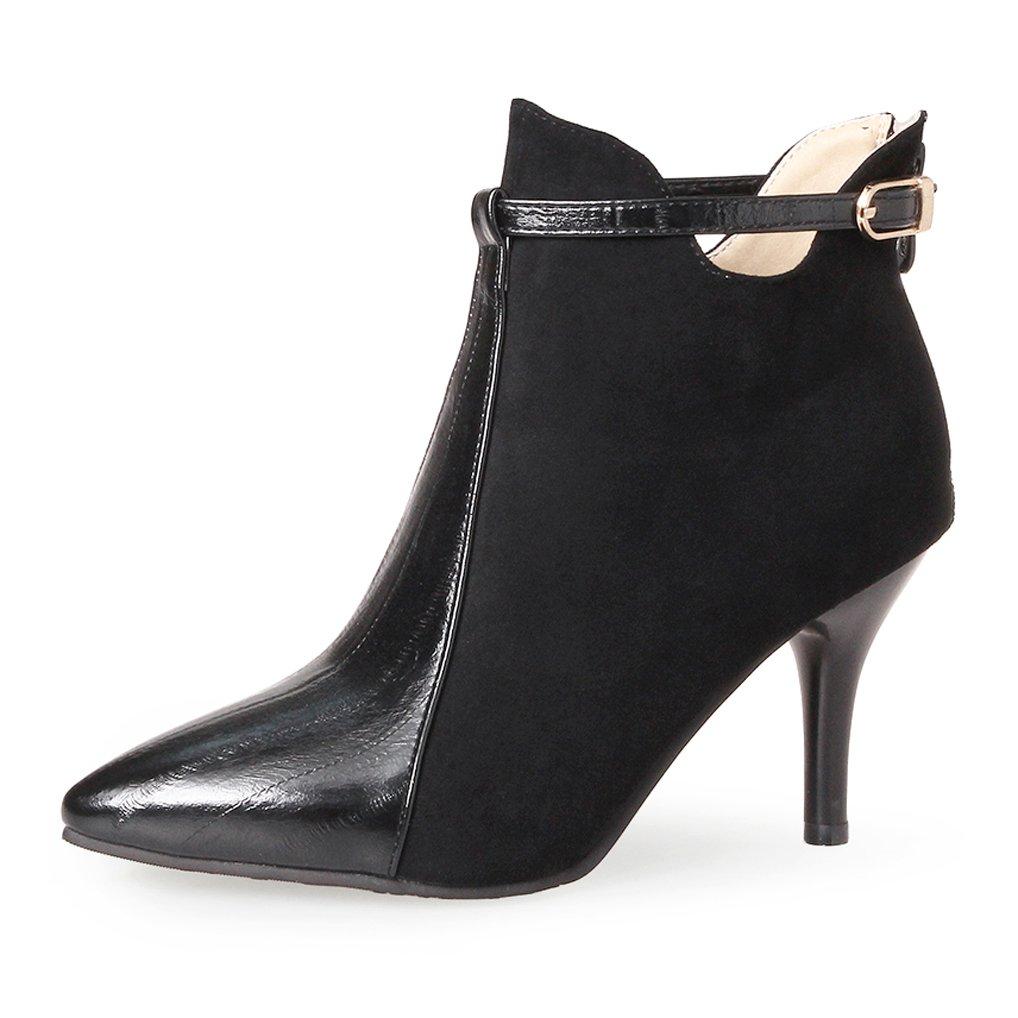 OALEEN Bottines Femme Élégante Talon Talon Haut Aiguille BI-Matière Aspect Boots Aiguille Cuir Chaussures Boots Noir 9561380 - epictionpvp.space