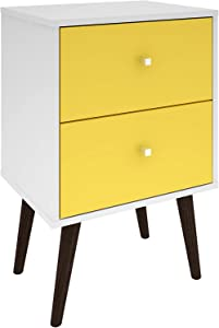 Manhattan Comfort Liberty Collection Mid Century Modern Nightstand With Two Drawers, Splayed Legs, White/Yellow