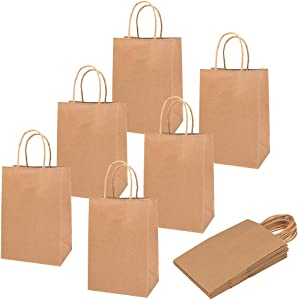 100 Pieces Kraft Paper Bags, Goody Bags Retail Bags with Handles for Gifts, Goodies, Presents Party Supplies