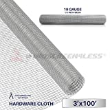 Windscreen4less 19 Gauge 1/2 Inch Square Galvanized Mesh Hardware Cloth 36-Inch Tall Custom Size Cut-to-length 3ft x 100ft