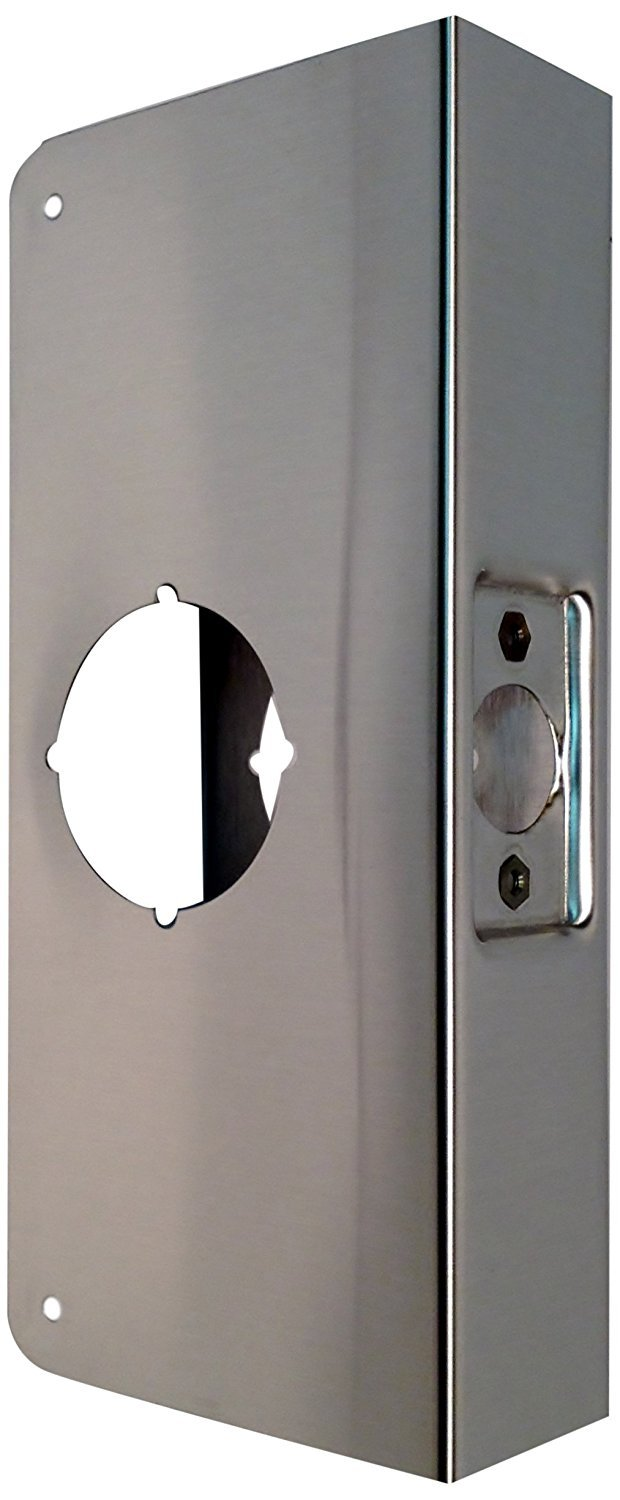 Don-Jo 4-CW-S Stainless Steel Classic Wrap-Around Plate, Satin Stainless Steel Finish, For Cylindrical Door Locks, 4-1/4'' x 9'', 2-3/4'' Backset, 1-3/4'' Door Size