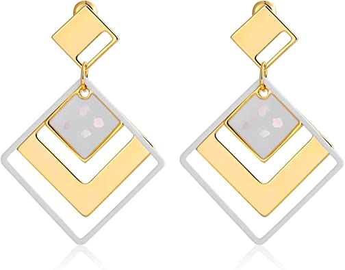 IDB Delicate Filigree Dangle Layered Oval Hook Earrings Available in Silver and Gold Tones