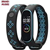 injoy Bands for Xiaomi Mi Band 4, Newest Sports Durable TPU Silicone Replacement Wristband Anti-Off Waterproof Bracelet Strap for Xiaomi Mi Band 4 (black and blue)