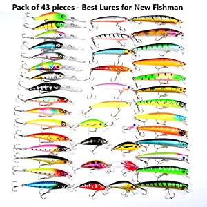 Hard fishing lures 43pcs topwater lures for Best bait for freshwater fishing