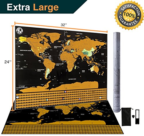 New Scratch Off Map Of The World Vacation Earth Poster Large XL Big Size Bonus Accessories, Detailed Design US Canada North South America Europe Asia States Outlined Trip Travel Planner Global Tracker Detailed Map North America