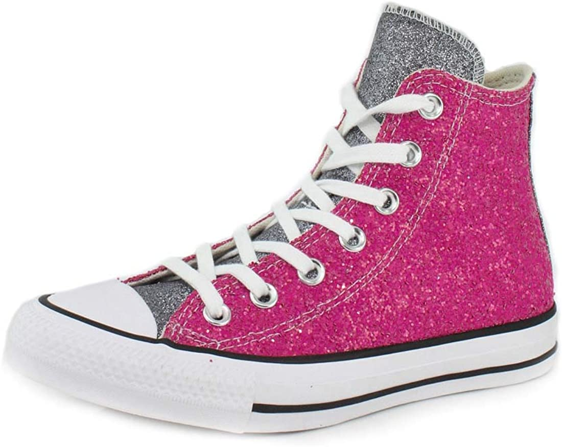 Converse Chuck Taylor All Star Glitter Hi Rose FonceArgent
