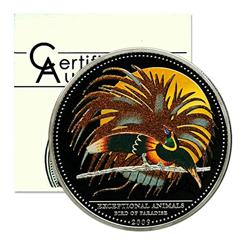 Palau Exceptional Animals Bird of Paradise $5 2009 Proof Silver Crown Color COA	0.7234 ASW