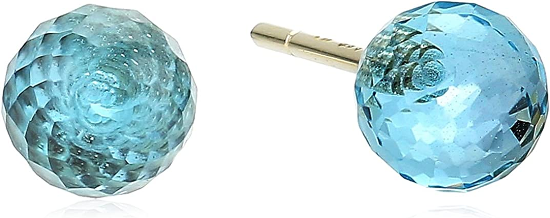 14k Gold Briolette Cut Gemstone Ball Earrings 6mm MCE8419Y-6M-14BT1