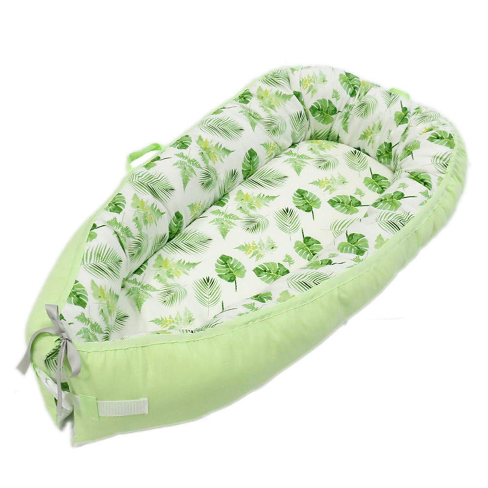 Abreeze Baby Lounger Portable Super Soft and Breathable Newborn Infant Bassinet Newborn Cocoon Snuggle Bed Banana Leaf Co-Sleeping Baby Bed