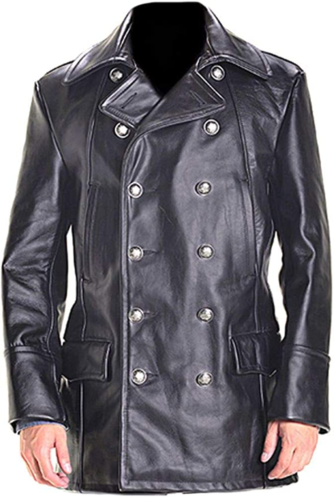 Stormwise Mens Military Cow Leather Black Jacket