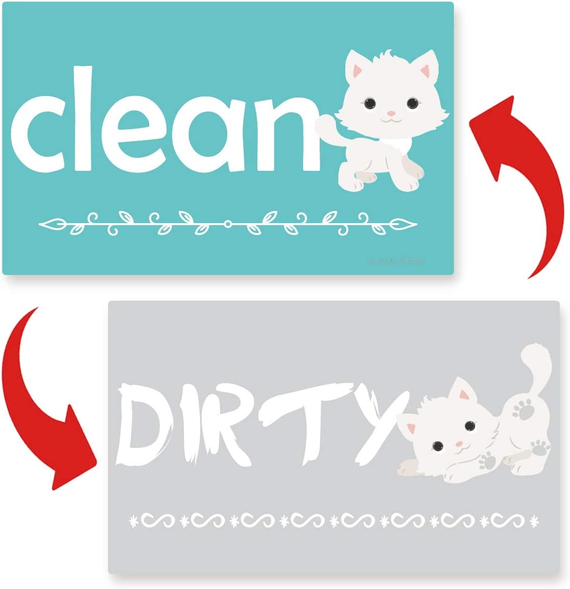 Clean Dirty Dishwasher Magnet Sign - Cute Dog Dishwasher Magnet Reversible Indicator Waterproof And Double Sided Flip With Bonus Metal Magnetic Plate, Funny Sign Perfect For Home Kitchen Dishwasher