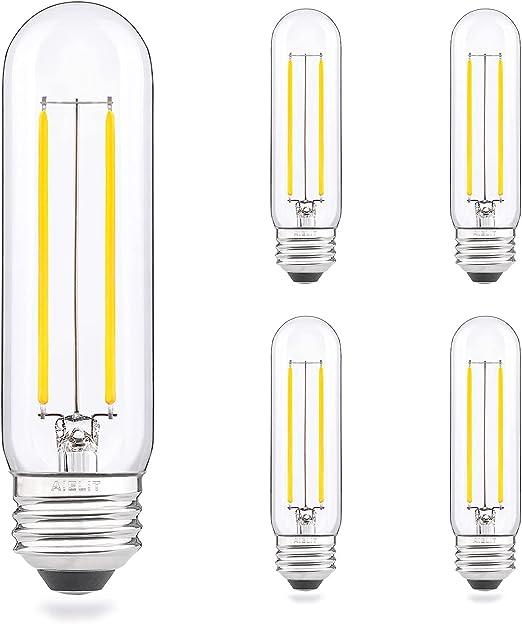 E26 LED Tubular Light Bulb 25 Watt Equivalent, Bright White 5000K, 200 Lumens, AIELIT 2W Daylight DimmableT10/T30 Edison LED Filament Bulbs for Chandelier, 4-Pack