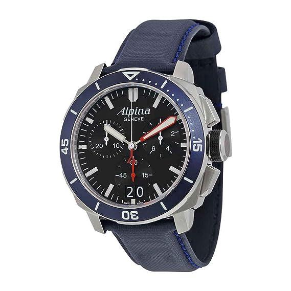 Alpina Seastrong Buzo 300 Big Fecha Cronógrafo Esfera de color negro reloj para hombre de piel de azul marino al-372lbn4 V6: Amazon.es: Relojes