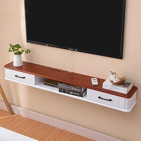 TV Rack Estante de Pared de Madera Maciza Estante Flotante con Cajón, marrón, 100 cm: Amazon.es: Deportes y aire libre