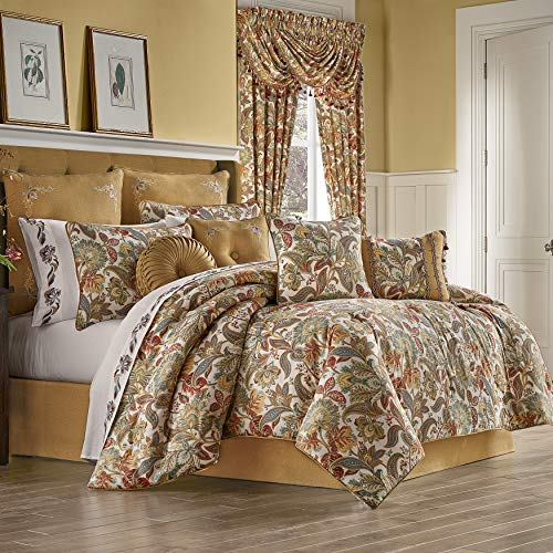 Five Queens Court August 100% Cotton Floral Jacobean Luxury 4 Piece Comforter Set, Multi Spice Color, King 110x96 ()