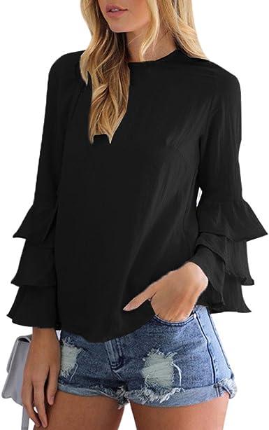 Camiseta de Mujer, Ruffle Manga Larga Elegante Color sólido Blusa y Camisa Cuello Redondo Camiseta Suelto Verano Tops Casual Fiesta T-Shirt Original vpass: Amazon.es: Ropa y accesorios