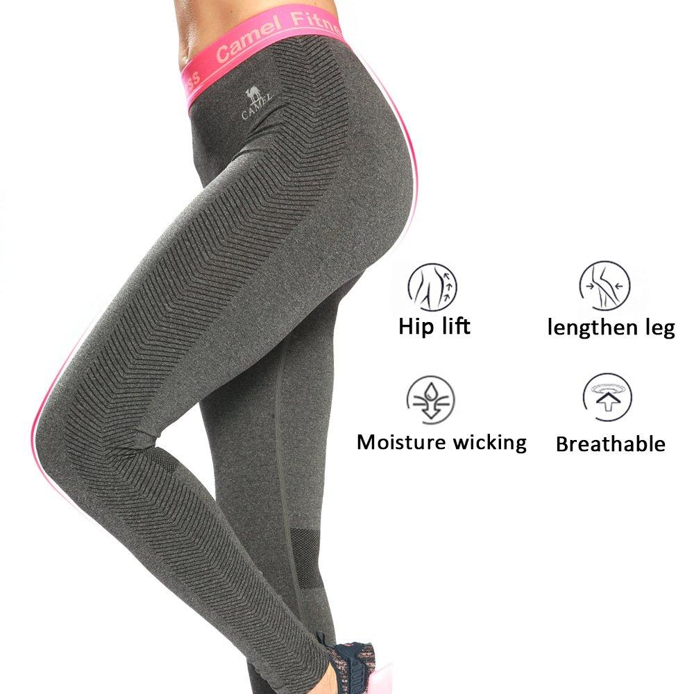 Camel Yoga Pants for Women High Waist Leggings Capri for Training Workout (Dark Gray-XL)